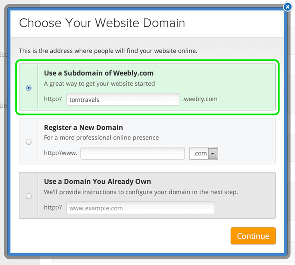 Weebly-Domain-Selection
